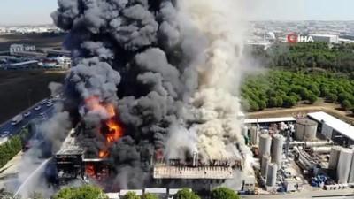 Tuzla'da polyester fabrikasındaki yangın havadan görüntülendi Haberi