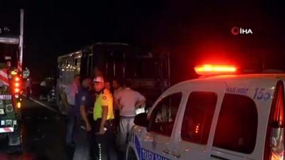 halk otobusu -  TEM Otoyolu'nda özel halk otobüsü alev alev yandı