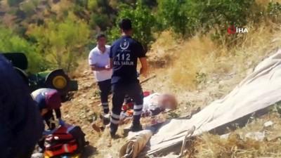 Adıyaman'da takla atan traktör uçuruma yuvarlandı: 1 ölü 1 yaralı