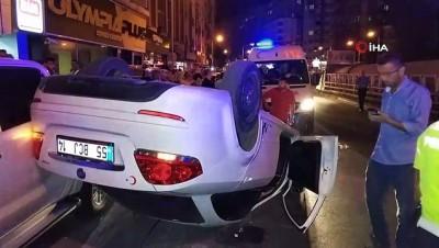 Samsun'da otomobil takla atarak park halindeki araçlara çarptı: 3 yaralı