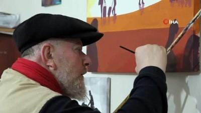 Mardinli ressam Avustralya'daki yangını tuvaline işledi