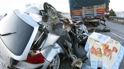 Otomobil kömür yüklü tıra arkadan çarptı:1 ölü, 2 yaralı