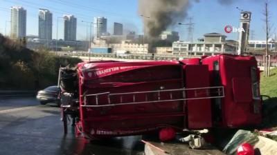 itfaiye araci -  Tekstil atölyesindeki yangın havadan görüntülendi