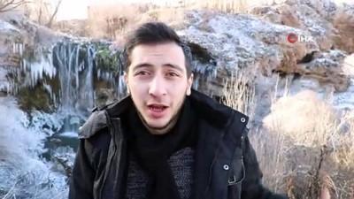 Sivas'ta gölet ve şelaleler buz tuttu