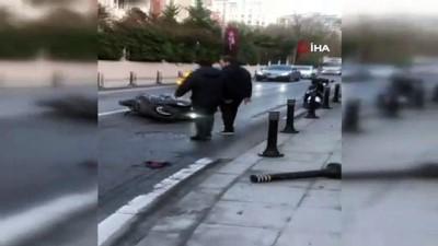 motosiklet surucusu -  Beşiktaş'ta kontrolden çıkan otomobil motosiklete çarptı: 1 yaralı