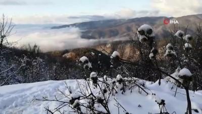Boludağı'nda kartpostallık kar ve sis manzarası