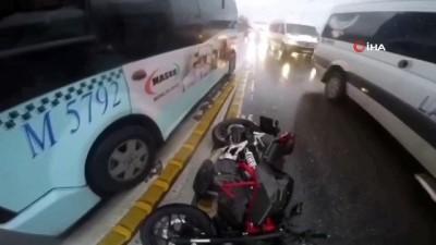 motosiklet surucusu -  İstanbul'da motosikletlilerin ölümden döndüğü kazalar kamerada