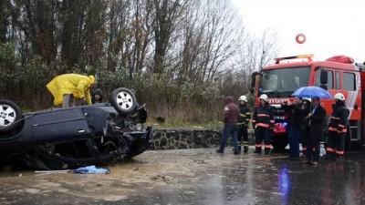 Tamir edilen aracın motor testi sırasında takla attılar: 3 yaralı