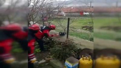 Bahçe tellerine sıkışan köpeği itfaiye kurtardı