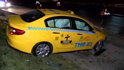 TEM Bağlantı yolunda otomobil önce ticari taksiye çarptı ardından takla attı İzle
