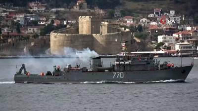 sahil guvenlik -  Rus askeri gemileri Çanakkale Boğazı'ndan peş peşe geçti