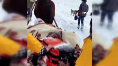 At sırtında ulaştıkları hastayı önce ambulansa kadar kızakla taşıdı, ardından hastaneye yetiştirdiler