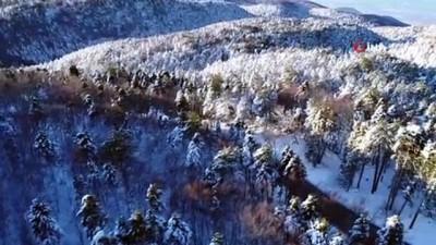 teleferik -  Uludağ'da kartpostallık manzaralar havadan görüntülendi