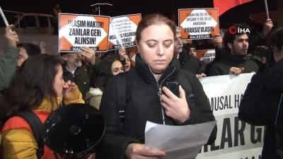 cevik kuvvet - Mecidiyeköy'de toplanan bir grup, İETT'ye yapılan zammı protesto etti