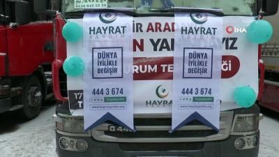 yardim kampanyasi -  Erzurum'dan İdlib'e 25 tır yardım