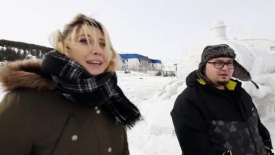 belediye baskani - Hayalini kurdukları Doğu Ekspresi'nin kardan modelini yaptılar - ARDAHAN