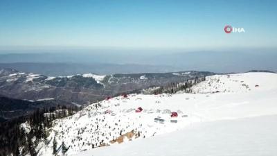Kardüz Yaylası kar manzarası havadan görüntülendi