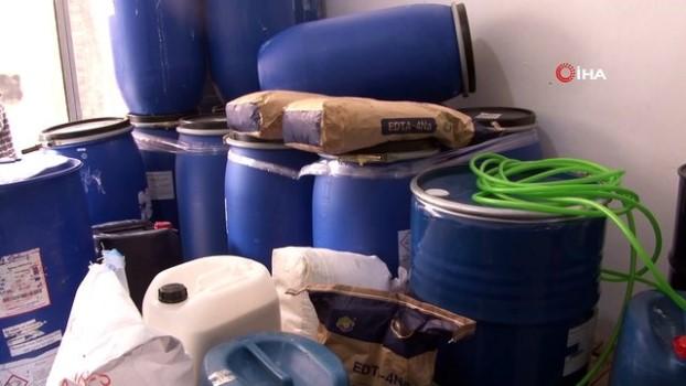 polis -  3 katlı sahte deterjan üretim tesisinde şaşırtan sistem