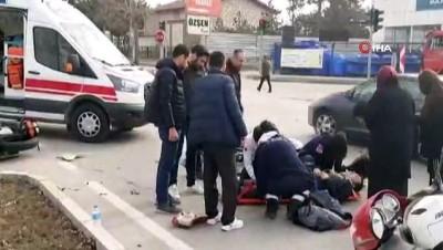 Kamyona çarpan motosiklet sürücüsü ölümden döndü