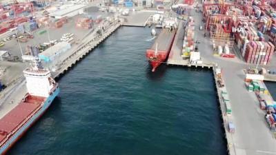 Ambarlı limanında yapılan denetimler drone ile havadan görüntülendi