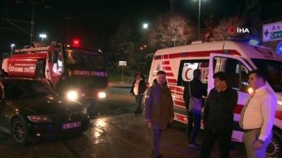 itfaiye araci -  İtfaiye aracıyla otomobil tramvay yolunda çarpıştı: 1 yaralı