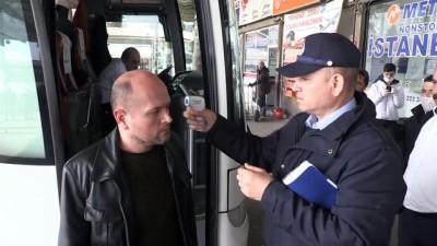 Otobüslerle kente gelen yolcuların ateşi ölçülüyor - KIRKLARELİ
