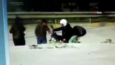 Yol kenarındaki motosikleti böyle çaldılar