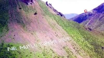 Terörden temizlenen dağlara Mehmetçik'ten, devasa 'Ay yıldız'