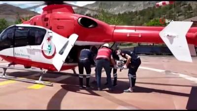 Ambulans helikopter iş kazası geçiren işçi için havalandı