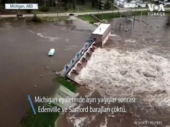 Michigan'da İki Baraj Çöktü