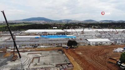 Sancaktepe'de yapımı devam eden Pandemi Hastanesi  içeriden görüntülendi