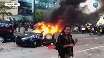kamera - Atlanta'da Polis Aracı Ateşe Verildi