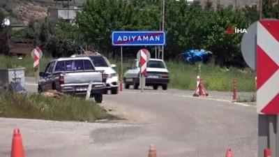 seyahat yasagi -  Adıyaman il girişinde sürücülerin ateşi ölçülerek şehre alınıyor