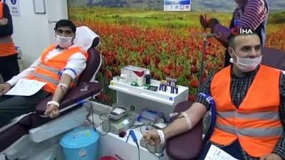 Ağrı'da Kızılay'a kan bağış kampanyası devam ediyor