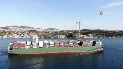 argo -  Dev kargo gemisi İstanbul Boğazı'ndan geçti