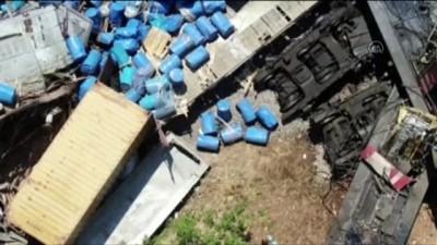 İki yük treni çarpışması - Enkazın havadan görüntüsü - MALATYA