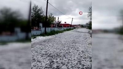 yagan -  Dolu yağışı sonrası yollar beyaza büründü