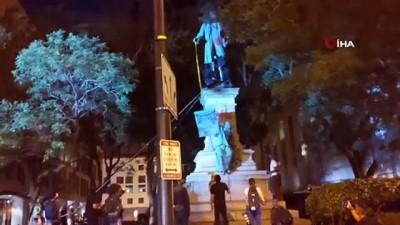 polis memuru -  - ABD'de göstericiler bir heykeli daha yıktı - Heykelin yıkılmasına kızan Trump'tan polise tepki