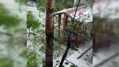 yagan -  Kars'ta sabah saatlerinde dolu yağışı