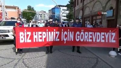 """saglik personeli -  Karaman'da """"Pandemi Farkındalık Yürüyüşü"""" düzenlendi"""