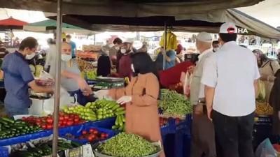 hava sicakliklari -  Kısıtlama öncesi halk pazarında tedbirlere uyuldu