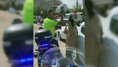 kiz kardes -  Adana'da trafik polisi, öğrenciye kendi kaskını takıp sınava yetiştirdi