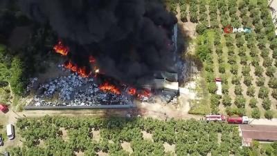 yangina mudahale -  Geri dönüşüm tesisi alev alev yanarak küle döndü