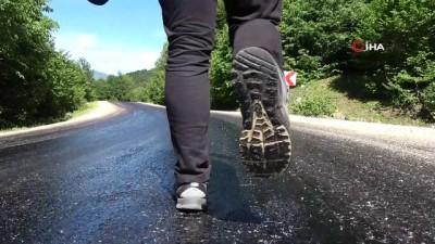 Sivas'ta asfalt eriten sıcak