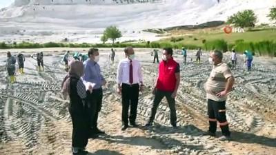 gine -  Dünyaca ünlü Pamukkale'den yaklaşık 400 kamyon çamur çıkartıldı