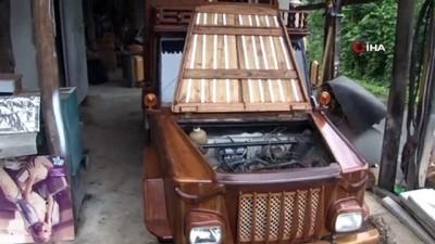 Rizeli mobilya ustası kendisine ahşaptan araba yaptı