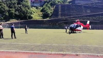 Ambulans helikopter parmağında kısmi kopma meydana gelen madenci için havalandı - ZONGULDAK