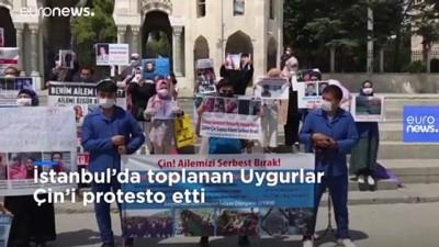 euro - İstanbul'da yaşayan Uygurlardan Çin baskısına karşı zincirli protesto