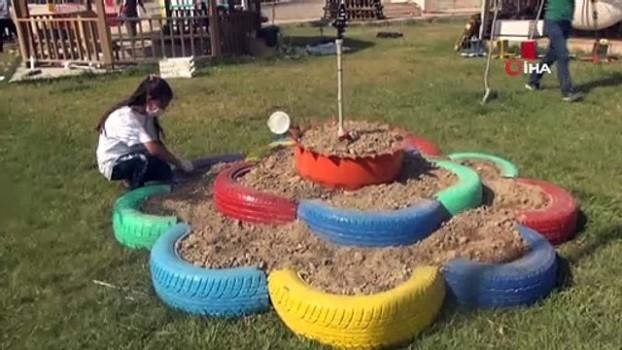 geri donusum -  Atık malzemelerden 'Gençlik Dönüşüm Bahçesi' oluşturdu
