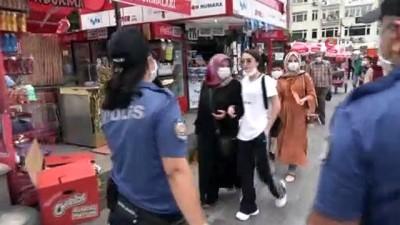 Polis ekipleri maskesiz sokağa çıkanları teker teker uyardı
